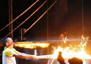 In what is a key part of an opening ceremony at the Olympics, Vanderlei Cordeiro de Lima lit the flame to a loud cheer.