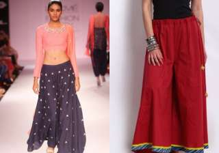 Rich flared sharara pants: The flared sharara pants are most versatile, timeless pieces. Whether embellished or in rich fabrics, the look is eternal and can be paired either with silk shirt or a hand embroidered crop top.