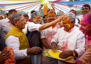 BJP senior leder Sushil Kumar Modi with leader of opposition Prem Kumar celebration Holi with party legislators in Patna.