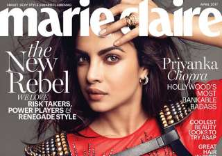 Priyanka Chopra appeared on the international fashion magazine Marie Claire where she was seen wearing a sheer red hot dress with a leather epaulette harness.