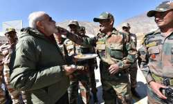 File photo PM Narendra Modi with ITBP personnel.