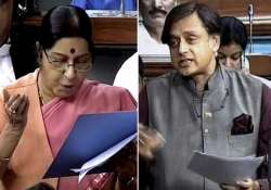 Sushma Swaraj asks Shashi Tharoor to draft resolution
