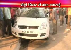 three dead as car smashes into metro pillar on mehrauli