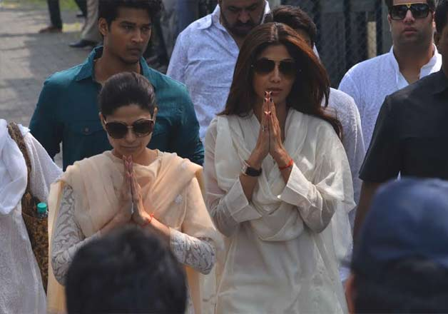 Shilpa Shetty's friends and Bollywood colleagues paid their last respects to the actress' father Surendra Shetty who died on Tuesday after a massive heart attack.The funeral was held in Mumbai on Wednesday