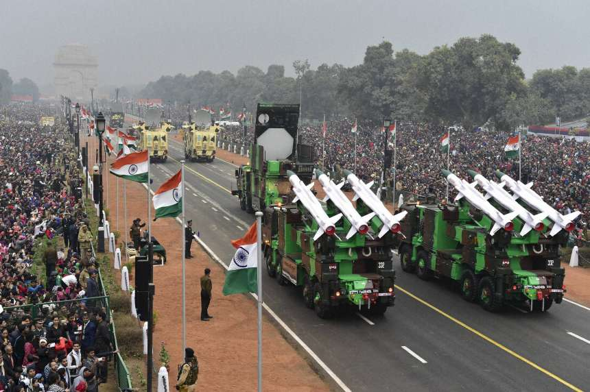 Akash Missile System along with other mechanised columns rolling down the Rajpath 68th Republic Day Parade in New Delhi on Thursday.