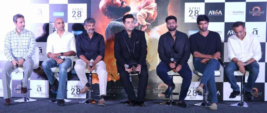 After releasing the trailer of 'Baahubali: The Conclusion' digitally, the makers launched the trailer of the film in Mumbai. Filmmaker S S Rajamouli, Karan Johar, Prabhas and Rana Daggubati attended the event and interacted with the media.