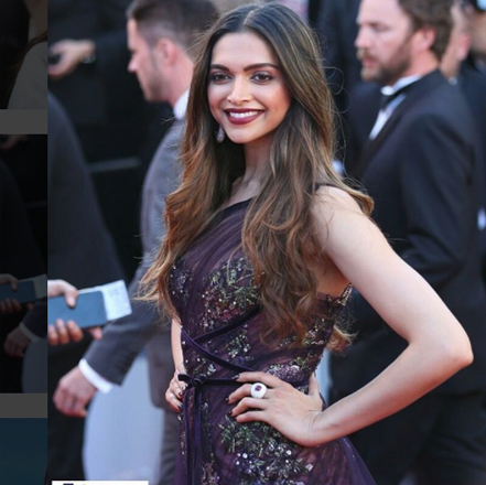 Deepika Padukone looked stunning in Marchesa Notte off-shoulder maroon gown at Cannes film Festival 2017.