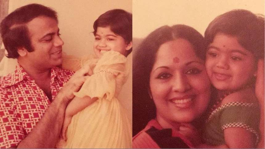 This is a picture of Shilpa Shetty with her father on the left and with her mother on the right. Shilpa's pet name is Manya and her mother calls her babucha or honeybunch. Isn't that cute?