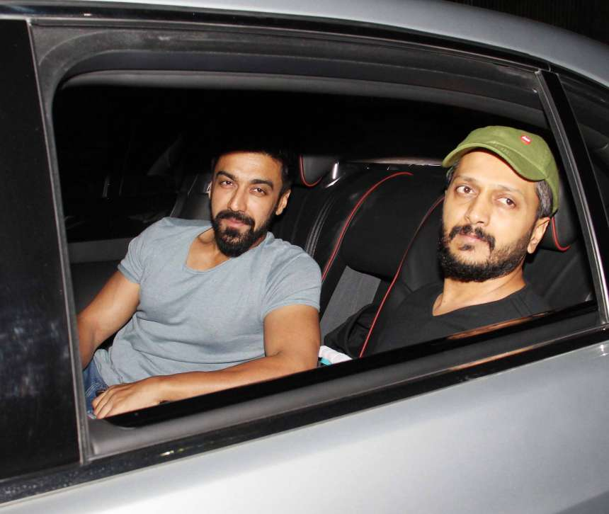 Actor Ritesh Deshmukh's new movie Bank Chor has released today. He was spotted with actor Ashish Choudhary during the screening of the movie at Yash Raj Studio.