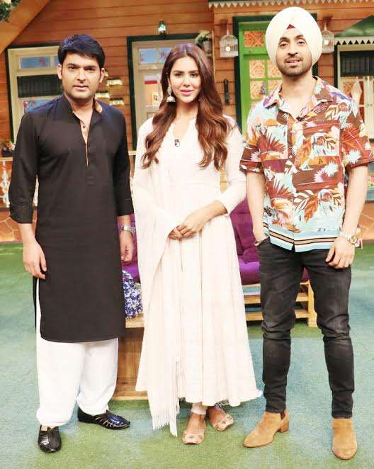 Diljit Dosanjh and his co-star Sonam Bajwa with Kapil Sharma on his show for the promotion of their next Punjabi flick Super Singh