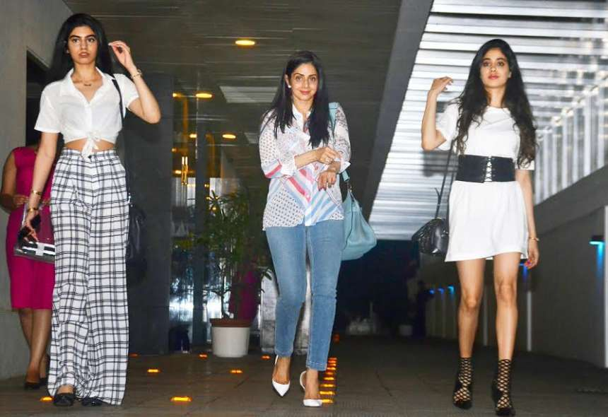 Sridevi was spotted with her two gorgeous and stunning daughters, Jhanvi and Khushi Kapoor at Hakkasan, a restaurant in Bandra