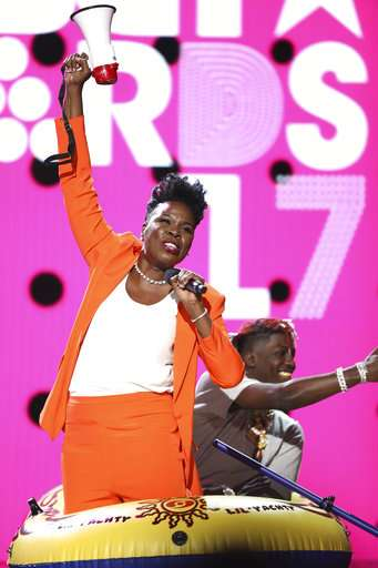 Host Leslie Jones performs a skit at the BET Awards at the Microsoft Theater on Sunday, June 25, 2017, in Los Angeles.