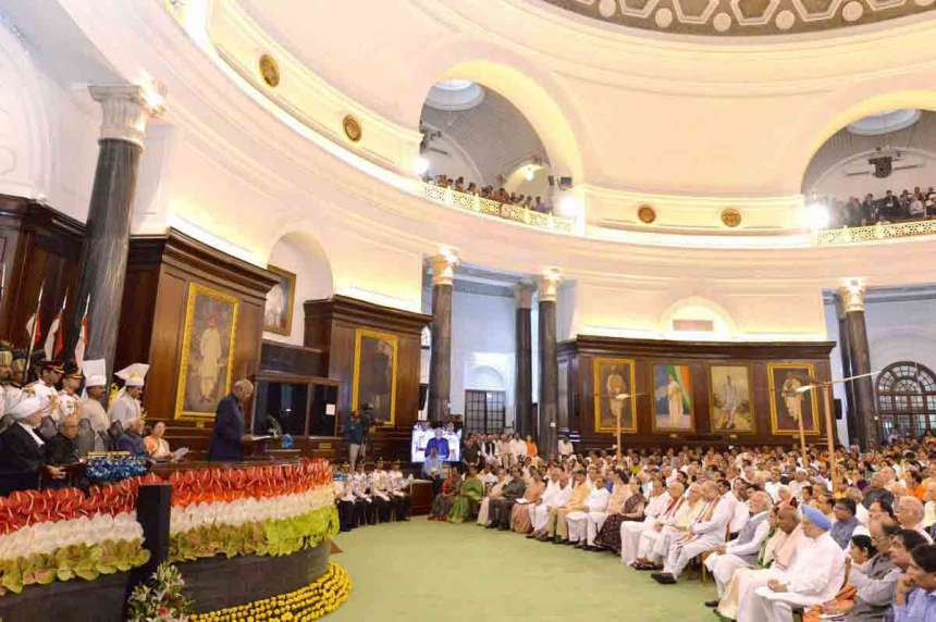 Newly elected President Ram Nath Kovind addresses lawmakers in the Central Hall of Parliament immediately after the oath taking ceremony