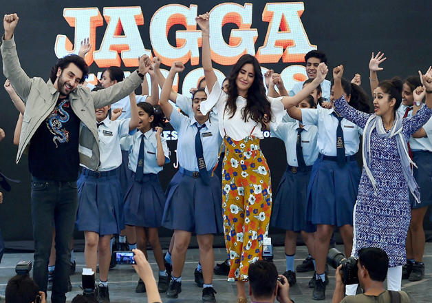 Bollywood actors Katrina Kaif and Ranbir Kapoor promote their upcoming movie Jagga Jasoos at Ryan Public School in New Delhi on Monday.
