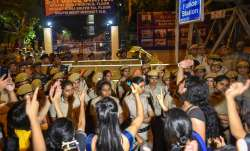 Students of JNU protest against JNU professor who is