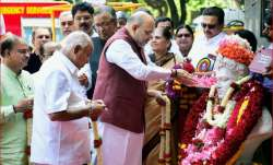 Amit Shah offers tribute to Lord Basaveshwara on the
