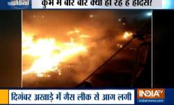 A fire breaks out at a camp at Kumbh Mela due to