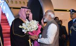 Saudi Crown Prince gets warm welcome by PM Modi on arrival