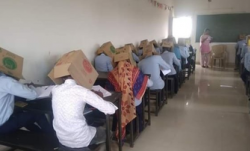 The boxes would act as blinders and the students won't
