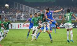 India's defender Adil (6) scores a goal during FIFA World