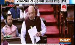 Amit Shah speaking in Rajya Sabha on Tuesday.