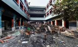 A vandalised private school in the riot-affected north east Delhi.