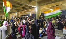 Women gather near Delhi's Jaffrabad metro station to