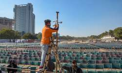A worker installs CCTV cameras at Ramlila Maidan ahead of