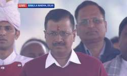 A screenshot of Arvind Kejriwal at the swearing-in ceremony