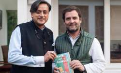 A file photo of Congress MPs Shashi Tharoor and Rahul Gandhi