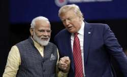 A file photo of PM Modi and US President Donald Trump at a