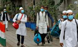 Health workers after inspecting the Nizamuddin venue