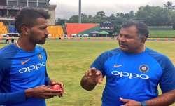 Indian bowling coach Bharat Arun with Hardik Pandya