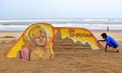 Sudarsan Pattnaik creates Ram Temple's replica on Puri beach