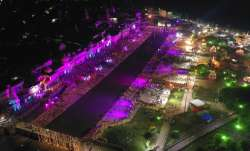 An illuminated city of Ayodhya is seen on the eve of a