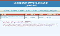 UPSC NDA examination 2020 Admit Card released