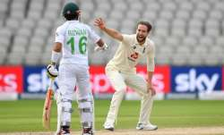 Chris Woakes during the first Test against Pakistan in