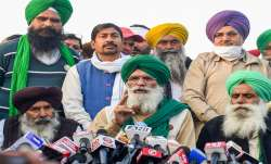Leaders of various farmer unions address the media at Singhu border, during their Delhi Chalo march