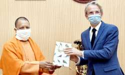 Uttar Pradesh Chief Minister Yogi Adityanath and Ambassador of France to India Emmanuel Lenain
