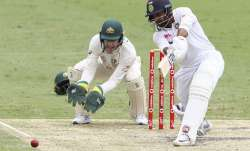 India's Shardul Thakur bats during play on day three of the