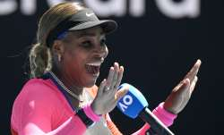 United States' Serena Williams gestures as she is