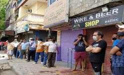 COVID-19, People rush, liquor stores, liquor shops reopen, Noida, coronavirus pandemic, covid second