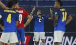 Brazil's Lucas Paqueta, center, celebrates after scoring