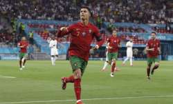 Portugal's Cristiano Ronaldo celebrates after scoring his