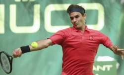 Switzerland's Roger Federer plays the ball during his ATP