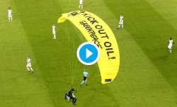 Greenpeace paraglider, parachute protestor, euro 2020,
