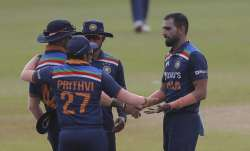 Indian team members congratulate bowler Deepak Chahar