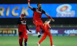 Harshal Patel celebrates after taking hat-trick against