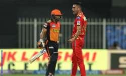 Kedar Jadhav of Sunrisers Hyderabad is bowled by Ravi
