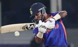 India's Hardik Pandya bats during the Cricket Twenty20 World Cup match between India and Pakistan in
